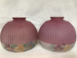 """2 Vintage Antique Pink Reverse Painted Ball Round Lamp Shades 2"""" Opening Pair"""
