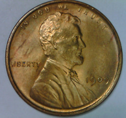 1909 Lincoln Cent Uncirculated Original Quality High Grade Wheat Penny Sd