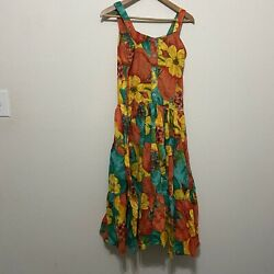 Vintage 80s summer dress Small floral indian cotton straps tiered Boho festival