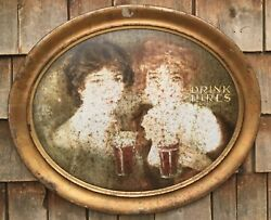 Early Antique Drink Hires 2 Girls Root Beer Soda Advertising Oval Tin Sign