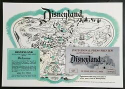 Reproduction Ticket And Map Combo Disneyland July 17, 1955 - Disney Opening Day
