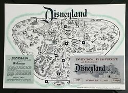 Reproduction Disneyland 1955 Opening Day Ticket And 1956 Map Combo Disney