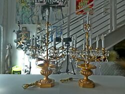 Pair Of Hollywood Regency Italian Tole And Hand Carved Wood Candelabra Lamps