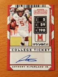 2020 Contenders Draft 236 Anthony Mcfarland Maryland Steelers Rookie Rb Auto D