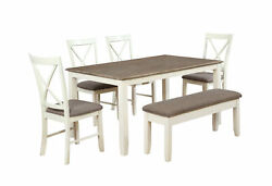 Powell Rubberwood Veneer 6 Piece Dining Set With White Finish 15D8153PC6