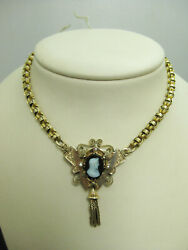 B799 Antique 10kt Yellow Gold Rolo Chain With Attached Onyx Cameo Pendant