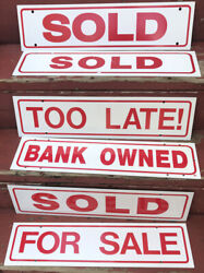 Lot Of 12 Realtor Real Estate Plastic Signs Sold For Sale Bank Owned Lot 2