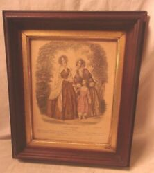 Antique Victorian Walnut Portrait Frame With French Print 11 1/2 X 13 1/2