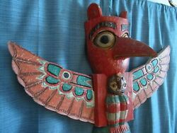6 Ft. 8 In.tall Vintage Totem Pole Pacific Northwest Spirit Hand Carved Eagle