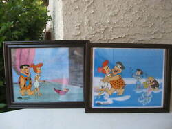 Flinstones Sericells Animated Art With Coa Matted/framed Lot Of 2