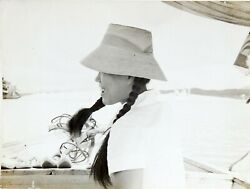 Smiling Young Asian Woman On Boat Straw Hat Snapshot