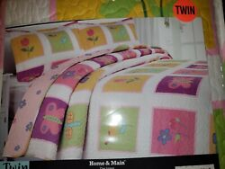 Home And Main Lily Patch Kids Quilt And Sham Set Twin Size Floral Butterfly