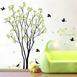 Green Tree amp; Bird Wall Stickers PVC Art Decals Removable Home Room Decor Mural