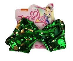 New Nickelodeon Jojo Siwa Large Hair Bow 7andrdquo Green And Gold Sequins