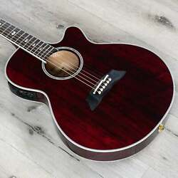 Takamine Tsp158c Str Acoustic Electric Guitat W/ Case See-through Red