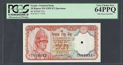 Nepal 20 Rupees Nd1982-87 P32s Specimen Uncirculated