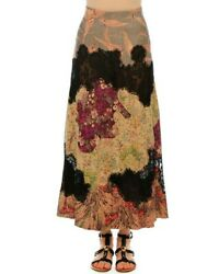 Valentino Pleated Leather And Lace Multipatch Skirt Nwt 8900 Us 12 Eu 48