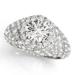 Rond 2.00 Ct Fianandccedilailles Diamant Solide 14k Or Blanc Bagues Poinandccedilonnandeacutee Taille M