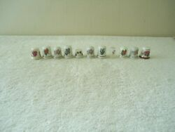 Vintage Mixed Lot Of 11 Floral Themed Thimbles Great Collectible Lot