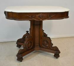 Antique Victorian Carved Walnut Marble Top Table Figural Faces Circa 1880and039s