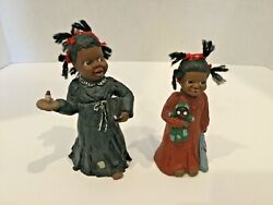 2 Martha Holcombe Prissy And Selina Jane Yarn Hair African American Figurines