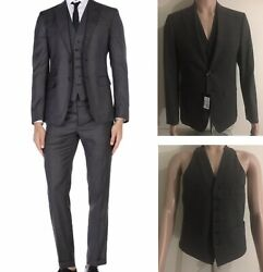 New Dsquared2 Made In Italy Skinny 3 Piece Gunmetal Gray Plaid Suit 38 48 Men