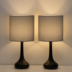 Modern Set Of 2 Bedside Lamp Gray Linen Table Lamp Pair For Bedroomliving Room