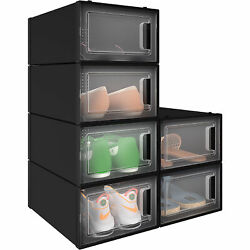 YITAHOME 6Pcs Shoe Storage Box Plastic Stackable Case Clear Sneaker Organizer