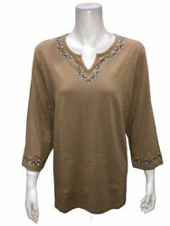 Denim And Co. Embroidered V-neck Top W/ 3/4-sleeves And Hi-low Hem Mocha Large Size