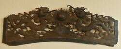 Chinese Qing Dyn Hand-carved Wooden Sculpture 2 Fish Dragons And Pearl Of Wisdom