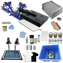 3 Color Screen Printing Kit Micro-adjust Press Printer With Flash Dryer Exposure