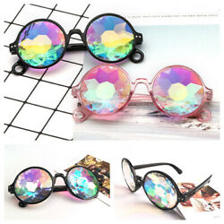 Festival Party Rave Kaleidoscope Rainbow Round Glasses Crystal Lens Sunglasses J $4.99
