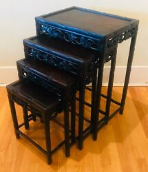 Antique 4-set Chinese Carved Rosewood Nesting Tables