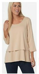 Joan Rivers Jersey Knit Layered Top With 3/4 Sleeves A302582