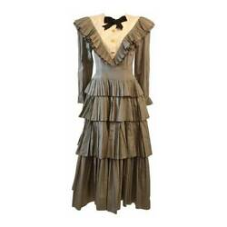 Edwardian Tiered Ruffle Gingham Gown With Black Bow