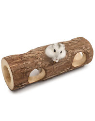 Wooden Hamster Mouse Hollow Tree Trunk Tunnel Tube Toy A