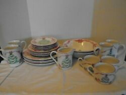 21 Piece Sango 1992 Home For Christmas Dishes 4829