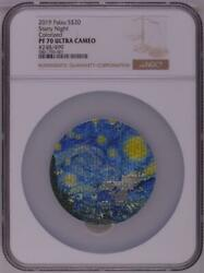 Ngc Pf70 Palau 2019 Starry Night Micropuzzle Treasures Silver Coin 3oz S20 Coa