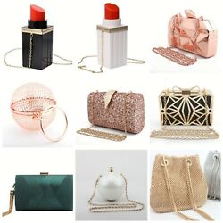 Black Crystal Jewelry Evening Handbag Party Cocktails Womens Bags Purse Clutches $20.23