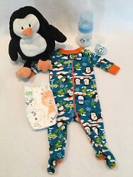 Reborn Baby Doll Penquin N/b Sleeper W/accs, Bottle And Pacifier
