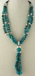 Triple-strand Natural Kingman Round Turquoise Bead Necklace With Jacla Pendant