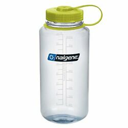 Nalgene - Wide Mouth Bpa Free Water Bottle Clear With Green Lid - 32 Oz.