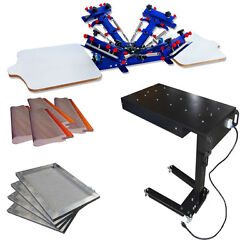 4 Color Screen Printing Kit Micro Registration Printer With Flash Dryer/ Screen