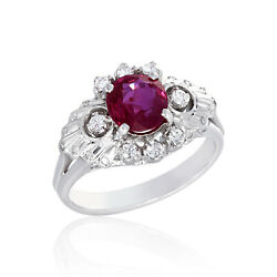 1.24cts Ruby Ring Diamond Jewelry 14k White Gold Vintage Lady Design Ornament