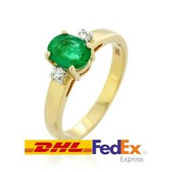 0.94ct Emerald Diamond Ring 18k Gold Jewelry Ornament Authentic Yellow Gold Lady