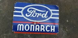 Porcelain Ford Monarch Sign Size 24 X 16 Inches Pre-owned