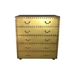 Vintage Mid Century Hollywood Regency Campaign Brass Clad Mirror Finish Chest