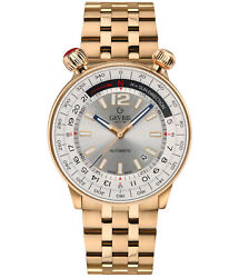 Gevril Men's 48564 Wallabout Automatic Silver Dial Rose-gold Ip Steel Date Watch