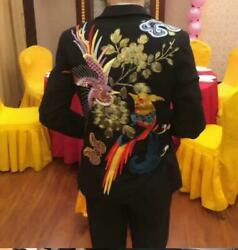 Menand039s Luxury Chinese Embroidery Floral Blazer Coats Formal Dress Club Jackets