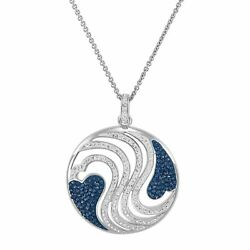 Heart Wave Medallion Pendant w Swarovski Crystals in 18K Gold Plated Bronze18quot; $11.28